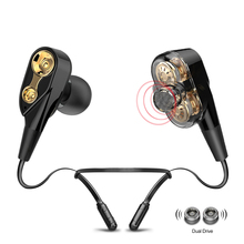 ALWUP I8X Double Dynamic Hybrid Bluetooth Earphone Wireless Headphones Dual Unit Drive Deep Bass headset V5.0