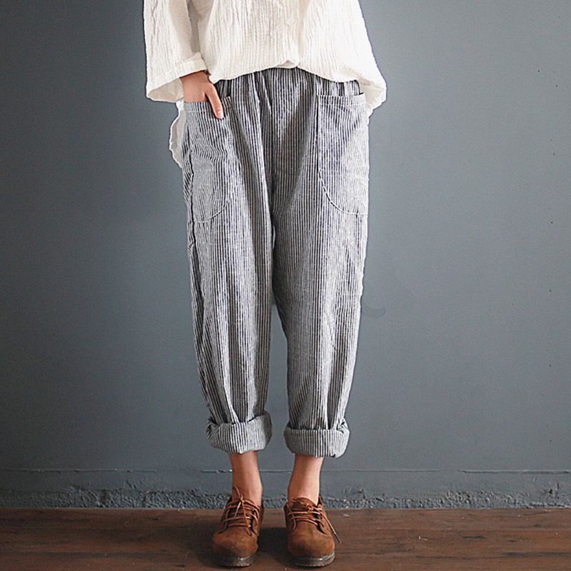 Striped Cotton High Waist Women's Harem Pants Plus Size 5XL Loose Trousers For Women 2019 Summer Spring Vinage Women Pantlaton
