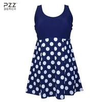 2017 Sexy Women Brazilian One Piece Swimsuit Plus Size Swimwear Polka Dot Print Beachwear Skirt Push