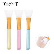 Pooypoot 1Pcs Silicone Mask Brush Soft Skin Care Mud Mixing Face Makeup Brushes Wooden Handle Facial Foundation Beauty Tool