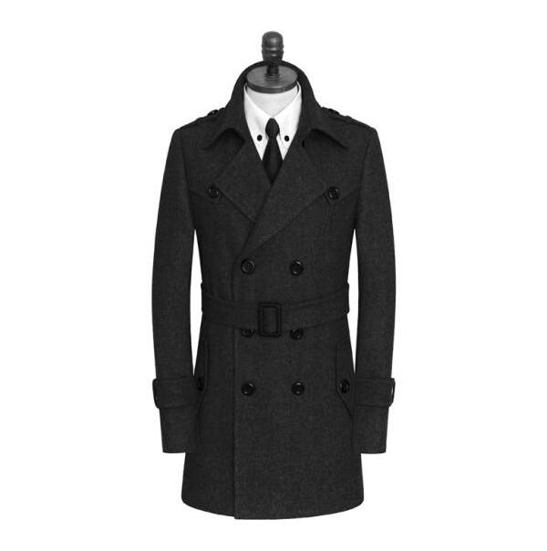 Double-breasted casual woolen coat men trench coats long sleeves overcoat mens cashmere coat casaco masculino england black grey
