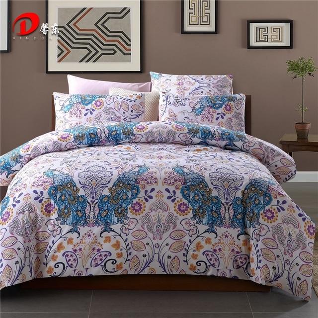 Luxury Satin Bed Linen Egyptian Cotton Bedding Set King Queen Size High Quality Blue Phoenix Duvet Cover Z47