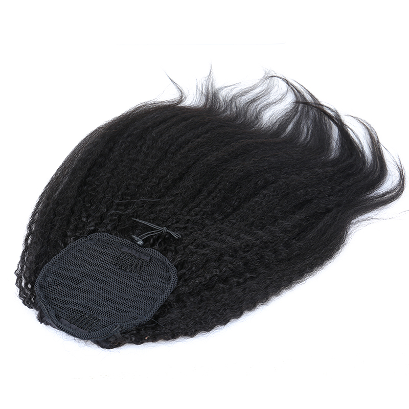 Kinky Straight Ponytail For Women Natural Coarse Yaki Remy Hair 1 Piece Clip In Ponytails Black 100% Human Hair Extension Dolago - 3