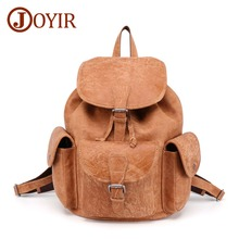 JOYIR Genuine Leather Men And Women Backpack High Quality Retro Cowhide Mens Brown Male Shoulder Bag Travel