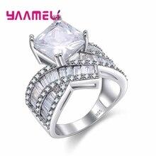 925 пробы, серебро,, изящное белое Кристальное кольцо для невесты, свадебная церемония, ювелирное изделие, кубический цирконий, подарок для жены