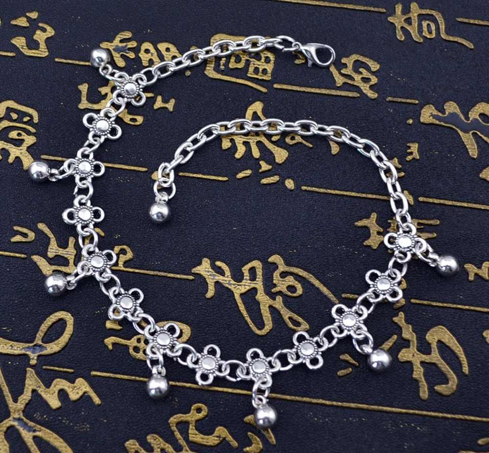 1 PC lato plaża kwiat bransoletka na kostkę cheville czeski Gypsy turecki Tribal srebrny dzwony bransoletki bransoletka Boho Foot biżuteria