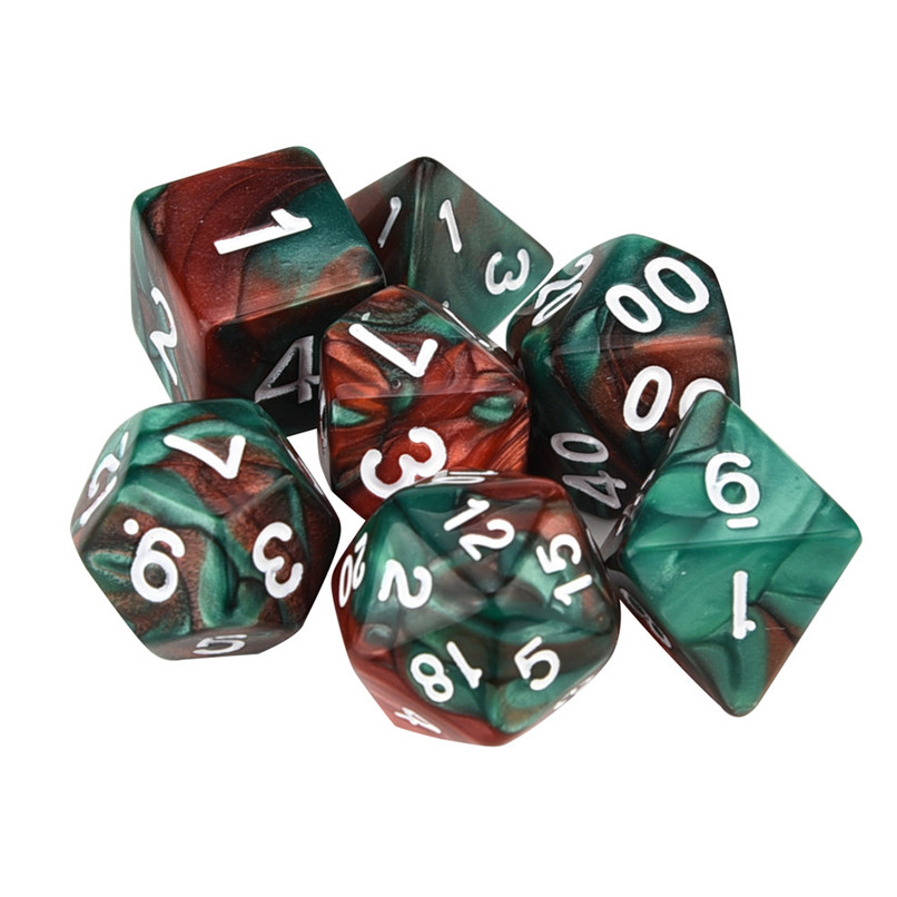 7pcs / Set Game Dice TRPG Game  Polyhedral D4-D20 Multi Sided Acrylic Dice 11 Colors #2o23