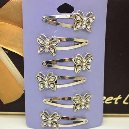 6 Pcs high quality  alloy butterfly antique silver/gold/bronze hair clips imitation rhodium plated hair accessories for girs