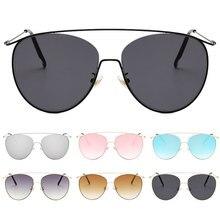 Double beam Cat Eye Sunglasses Women/Men Fashion Big Metal Frame Sun Glasses UV400 Travel Shade Colorful Clear Lens Gafas