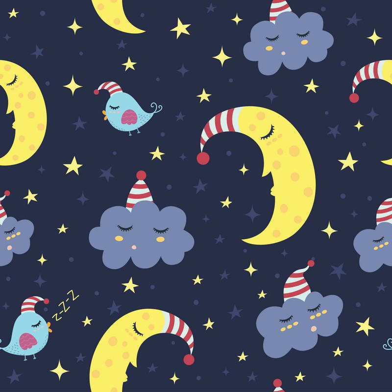 Cartoon Clouds Crescent Moon Bird Star Blue backdrop polyester or Vinyl cloth High quality Computer print wall background