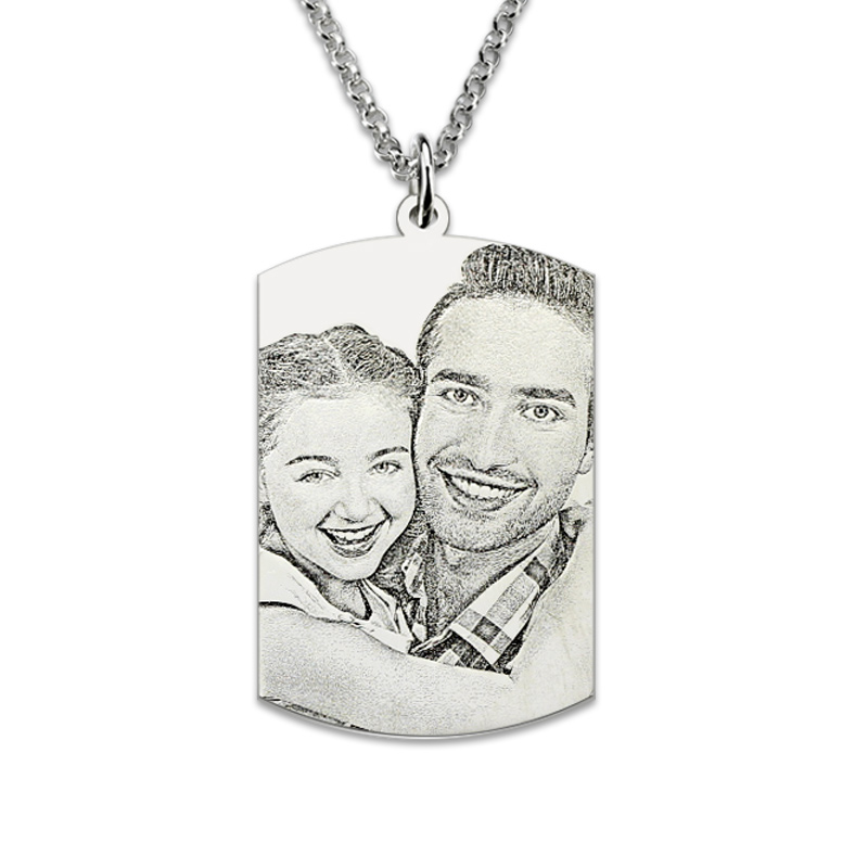 Wholesale Sterling Silver Engraved Photo Dog Tag Memorial Jewelry Men Gift Pictutre Necklace Photo Dog Tag