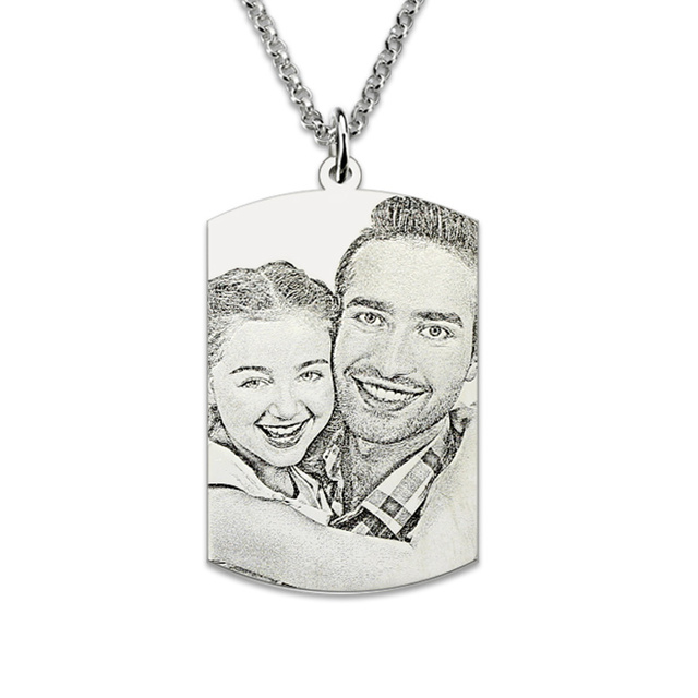 Wholesale Sterling Silver Engraved Photo Dog Tag Memorial Jewelry