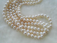 Natural Pearl Jewellery, 3Rows AA 7 8MM White Color Real Freshwater Pearl Necklace Flower Clasp New Free Shipping