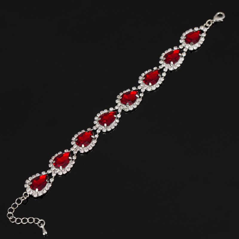 2017 Bracelets et bracelets de mariage nouveauté pleine étoile super brillant strass cristal argent dames lien chaîne Bracelets B016