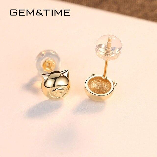 Lucky Pig 14K Gold Stud Earrings 5