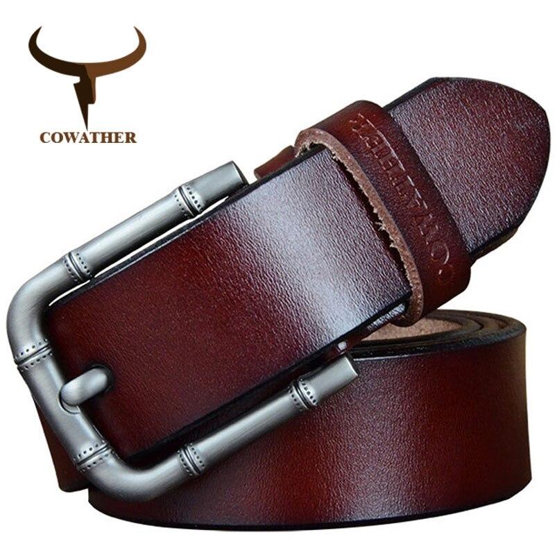 COWATHER 2018 ceintures pour hommes nouveauté hommes ceinture en cuir de vache véritable sangle masculine qualité supérieure goupille en alliage boucle sangle masculine s XF025