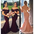 Burdundy 2017 Sexy Shiny Sequins Mermaid Long Bridesmaid Dresses V-neck Backless Wine Red Prom Gowns Honor Of Bride To Wedding