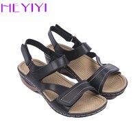 HEYIYI Brand Women Sandals Gladiator Casual Summer Square Heel Hook Loop Ankle Strap Platform Soft PU