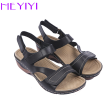 HEYIYI Brand Women Sandals Gladiator Casual Summer Square Heel Hook&loop Ankle Strap Platform Soft PU Light-weight Women shoes