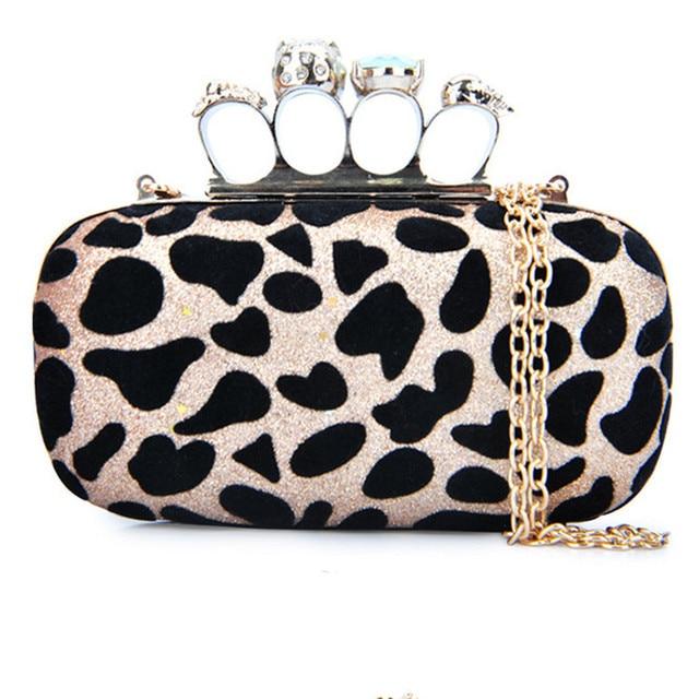 2016 new fashion handbags female messenger bag shoulder chain evening bag skull ring gem decorated finger package zs605