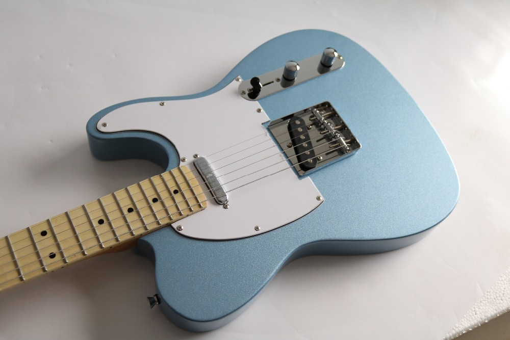 Top quality factory custom New Arrival F telecaster blue Gold color Electric Guitar Free Shipping