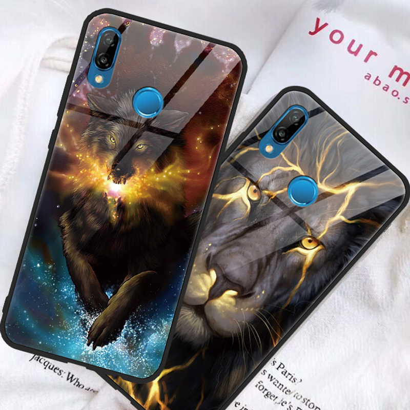Tempered glass Tiger lion Coque For Huawei P9 P10 P20 Plus Lite Pro P Smart Cover For Huawei Mate 9 10 20 Pro Lite TPU Soft Case