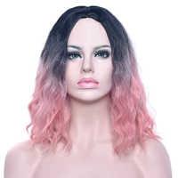 Soowee черный до розовый кудрявый короткий парик синтетические волосы теплостойкое волокно вечерние волосы черный зеленый Косплей парики для...