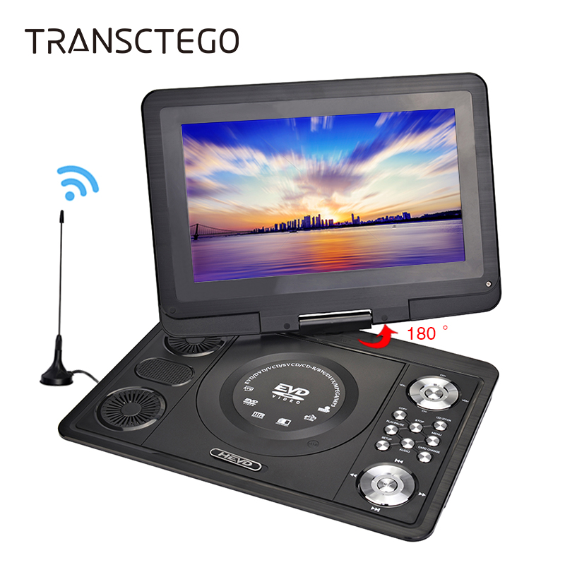TRANSCTEGO DVD Player Portable Car TV 13.9 Inch Big players LCD Screen For Game FM DVD VCD CD MP3 MP4 with Gamepad TV Antenna