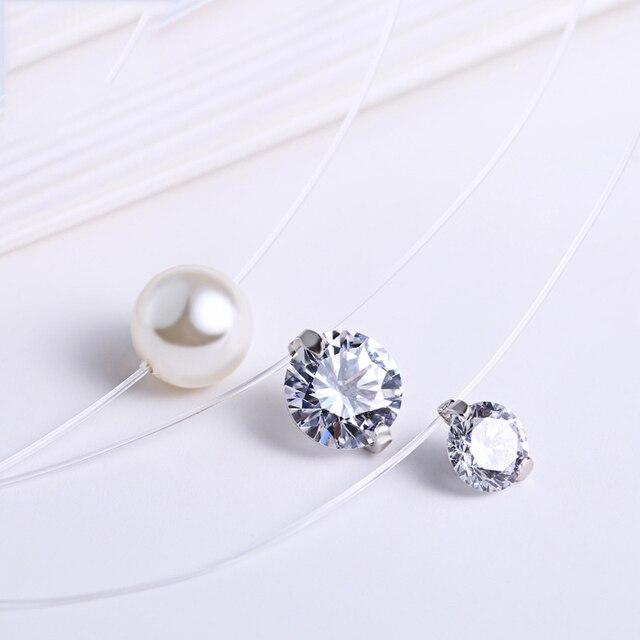 INZATT Real 925 Sterling Silver 40cm Fishing Line Cute Zircon Pearl Pendant Necklace Fine Jewelry Romantic Choker For Women Gift