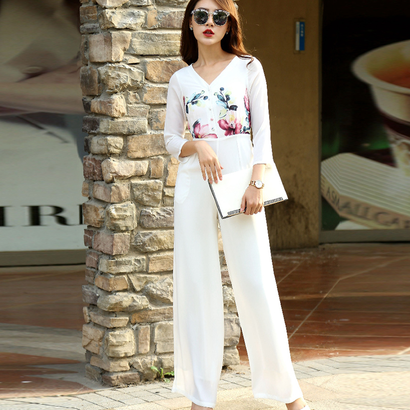 2019 Autumn Jumpsuit for Women Party High Street Chiffon Floral Elegant White Wide Leg Full Length Rompers Plus Size 3XL 4XL