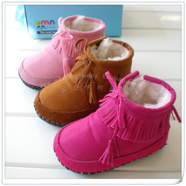 Winter genuine thin leather toddler shoes toddler shoes bb winter soft outsole shoes