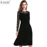 A Line Elegant Velvet Dress Office Wear Knee Length o Neck Ruffles Midi Women Dress Formal Hollow Out Evening Party Lace Dress