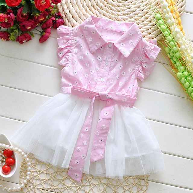 2017 Spring Sweet Toddler Baby Girls Pink Style Dress Casual Fashion