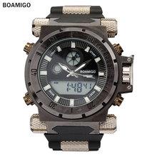 BOAMIGO мода мужчины спортивные цифровые часы кожаный ремешок 2016 новый человек кварц черный наручные часы 50 М водонепроницаемый relogio masculino