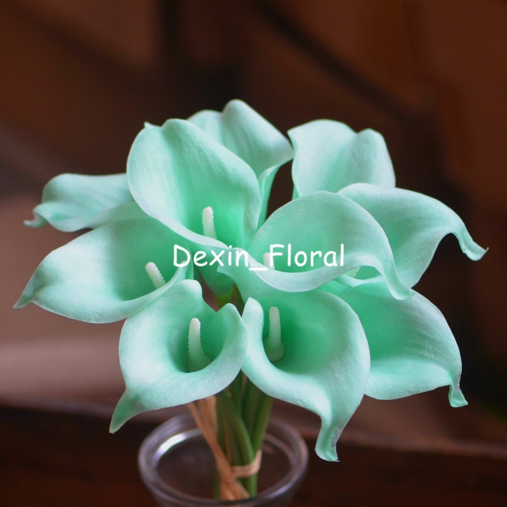 Mint Green Calla Lilies Real Touch Flowers For Silk Wedding Bouquets ...