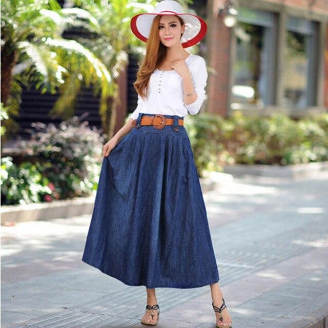 9b7b3f347362d8 € 20.77 11% de réduction|Nouveau femmes casual bleu foncé large flare denim  jupe Femelle de Dame plus la taille 5XL cheville longueur longue ...