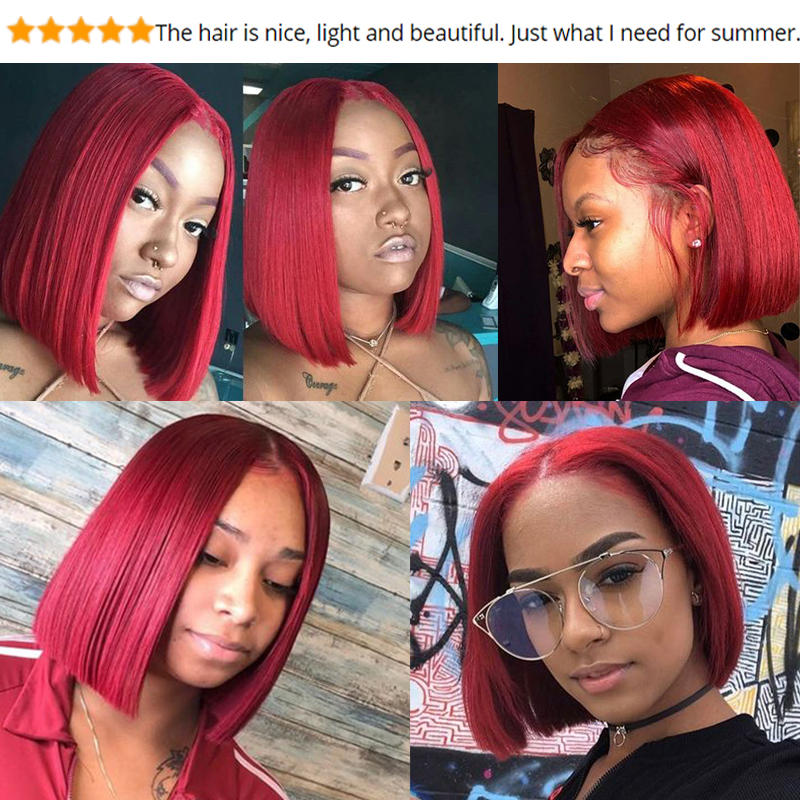 HTB18HbnXMaH3KVjSZFpq6zhKpXak Brazilian Straight Hair Remy Red Bob Wigs Burgundy 13X4 Lace Front Wig With Baby Hair Pre Plucked Short Human Hair Wigs Remyblue