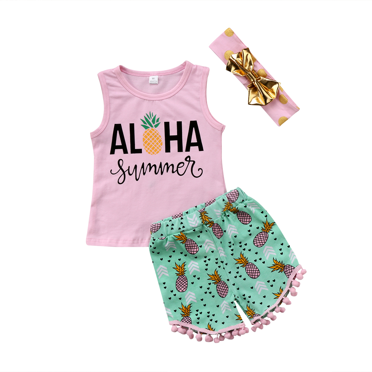 d3c21c1a3eb 2018 Kids Baby Girl Toddler Summer Top Sleeveless T-shirt Pineapple Vest+  Pants Shorts Clothes