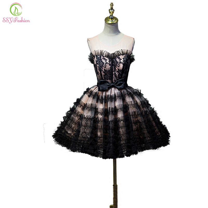 New Short Evening Dress SSYFashion Sexy Black Strapless Sleeveless Lace Party Ball Gown Sweet Princess Formal Dress Custom