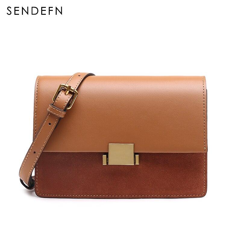 SENDEFN New Split Leather Bag Women Small Handbag Women Crossbody Flap Bags Shoulder Bag Female Cover