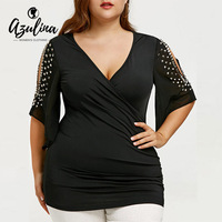 AZULINA Plus Size Ladies Tops Rivets Embellished Slit Sleeve Surplice T Shirt Women Punk Spring Black