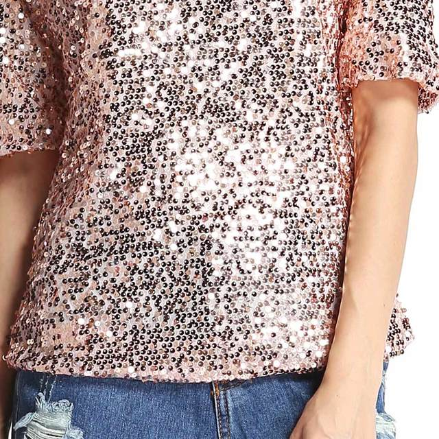 Women's Sexy Sequin Glitter Half Sleeve Loose Sparkle T Shirt