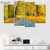 Canvas Wall Art Poster Home Decor Living Room 4 Pieces European Sunset Highway Cityscape Paintings HD