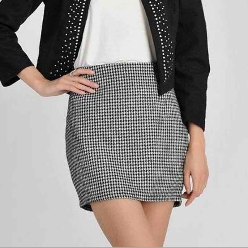 d4b308edc451 New Spring Autumn Winter Women Skirt Casual Slim High Waist Short Skirt  Elegant Houndstooth Straight Skirt