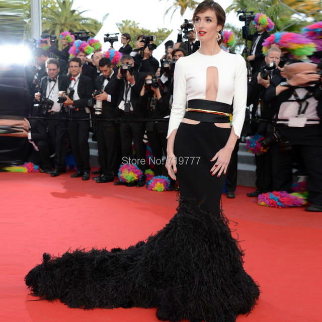 Mermaid Long Tail White And Black Feather Evening Dress Three Quarter Sleeves Y Red Carpet Celebrity