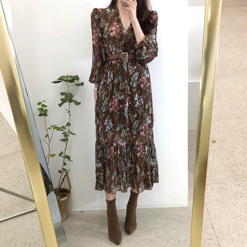 Women Dress 2019 Spring Summer Korean Fashion Vintage Floral Print Chiffon Midi Dress Ladies Elegant Dresses With Belt Clothes