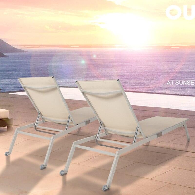 BLUERISE 2-Pack Chaise longue Patio extérieur tous temps plage pliante Chaise inclinable canapé Chaise longue loisirs meubles de jardin