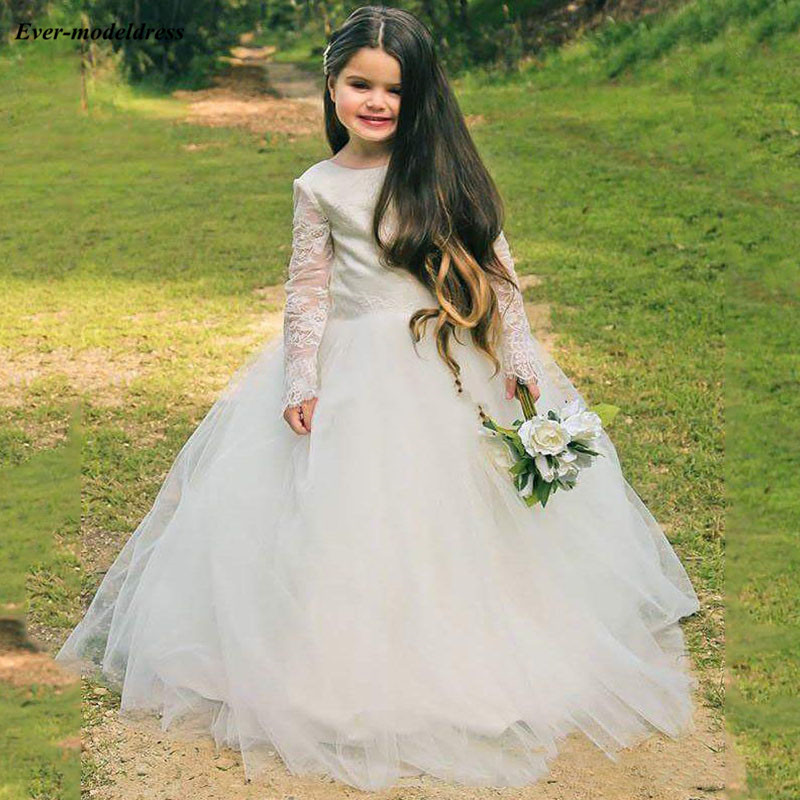 2019 Newest White   Girls   Holy Communion   Dresses   Long Sleeves Lace Tulle   Flower     Girls     Dresses   Ball Gowns For Wedding