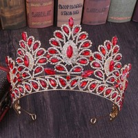 Baroque Crown Large Big Wedding Tiara Rhinestone Bridal Headpiece Princess Crown Head Hair Jewelry Gold Red Green Tiara Birthday