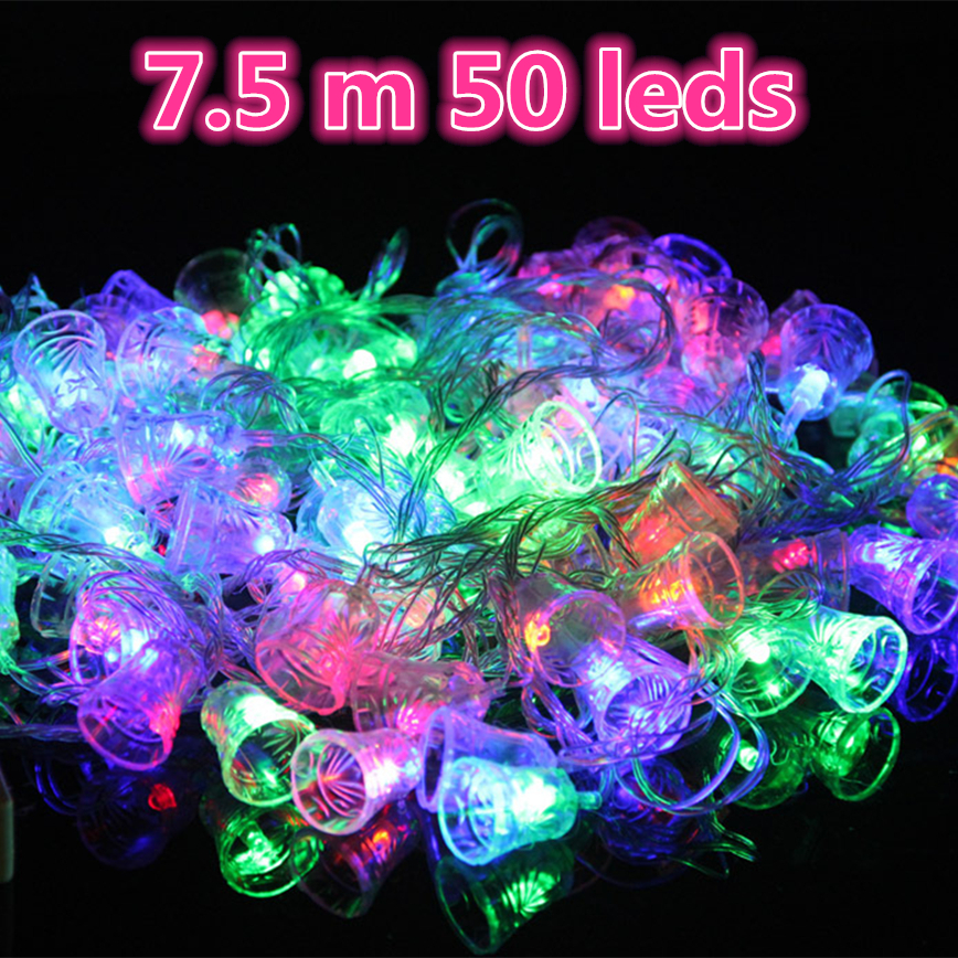 christmas party lamp 75 m 50 leds 110v220v led christmas bell string lights with eu plug connector and controller led lighting in led string from lights